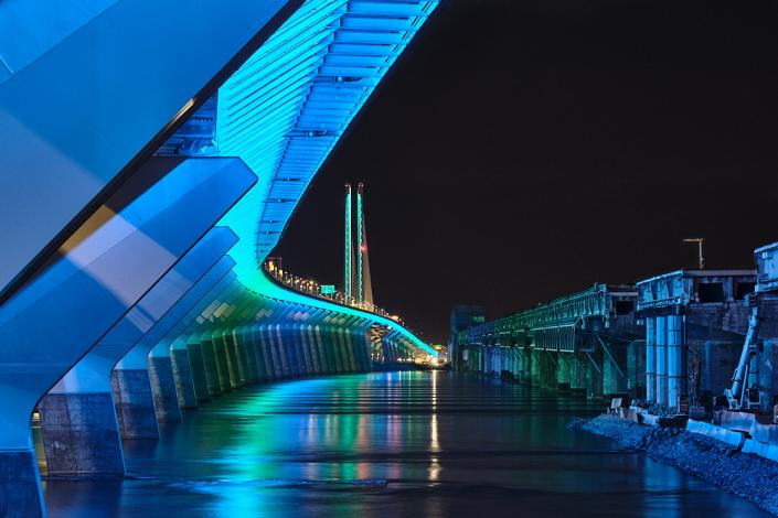 Pont Champlain jour et nuit